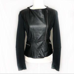 Bernardo Knit Sleeve Faux Leather Moto Jacket